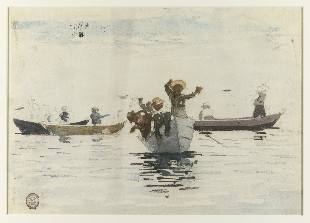 Horizontal scene of four rowboats with children at sea. Center boat is seen from the bow, two boats to the left of the center boat are seen full-length, and one full-length to the right.