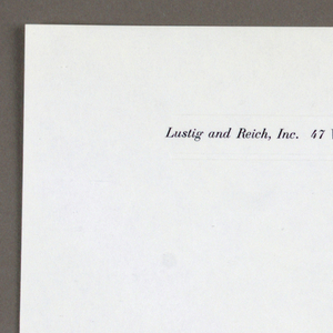 Letterhead for Lustig and Reich, Inc. White paper with black printed text centered between two embossed lines at top.