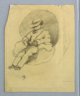 Sketch of a male figure seated.