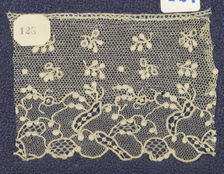 Needle lace edge, floral pattern; early 18th century Alencon