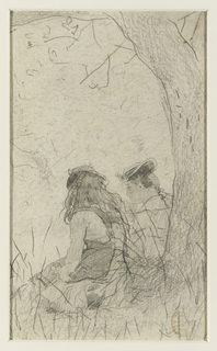 Two girls, viewed from behind, sit in the shadow under a tree.