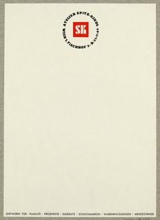 Letterhead, SK/Atelier Spitz-Kindl, Wien