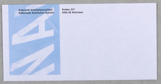 Letter-sized, horizontal mailing envelope.  Imprinted upper left: NAI name and address.  Blurred NAI logo in white on blue along left side.