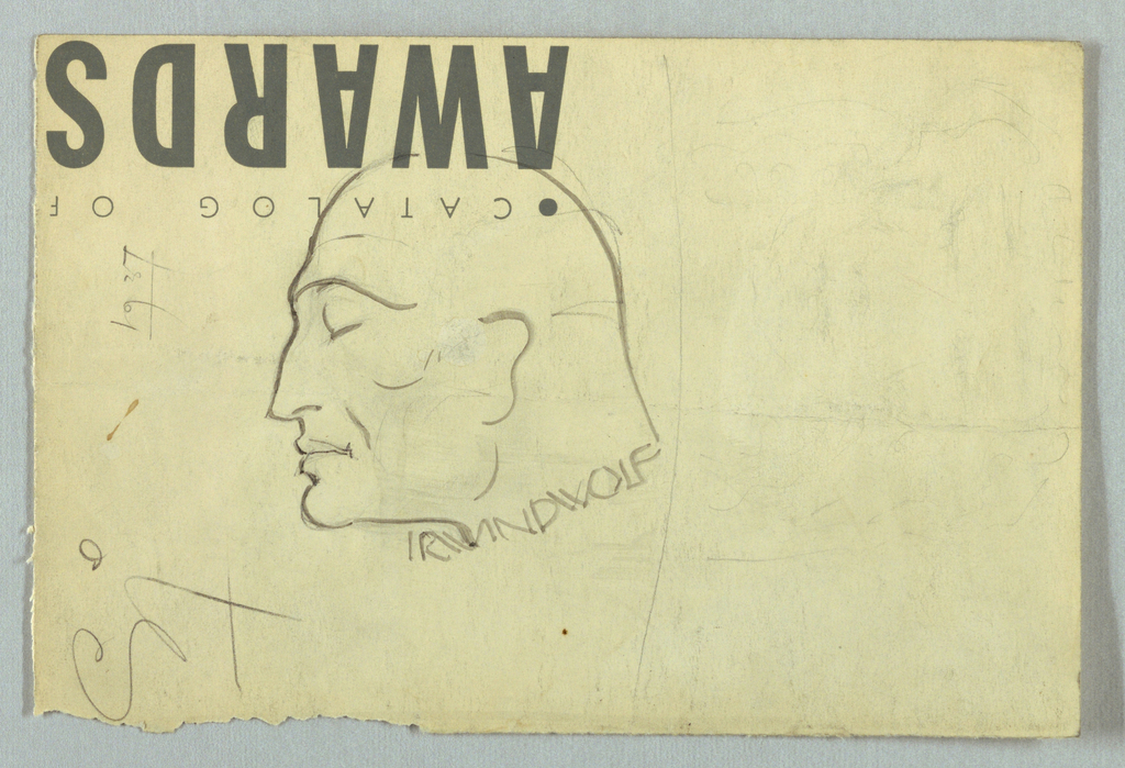 Drawing, Male Head, Left Profile (Irwin D. Wolf)