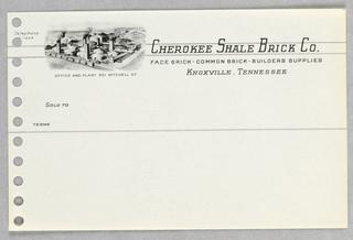 Invoice Form, Cherokee Shale Brick Co.