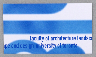"Business card for Faculty of Architecture Landscape and Design at University of Toronto. Recto: Partial view of logo ""al&d"" (in blue) in vertical orientation on white. Imprinted across bottom: ""faculty of architecture landsc/ape and design university of toronto (in darker shade of blue).  Verso: Imprinted from top left, left justified, contact information: ""T 416 978 0869/ F 416 971 2094/ nives@clr.utornoto.ca (all in bold)/ Nives Corak (in bold) Barch/ Visual Resources and Exhibition Curator/ Visual Resources Centre/ Faculty of Architecture, Landscape, and Design/ University of Toronto/ 230 College Street, Toronto ON Canada M5T 1R2"" (in black)."