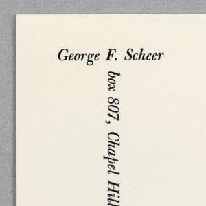 """Envelope with black text on white ground.  """"George F. Scheer"""" printed in black at top left, address running vertically from the base of """"F."""" to bottom edge."""