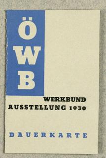 Ticket, OWB Werkbund Ausstellung 1930 Dauerkarte, 1930