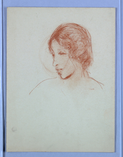 Partial sketch of a female figure in profile.