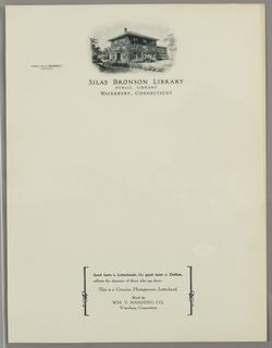 Letterhead, Silas Bronson Library, Wa, ca. 1940–65