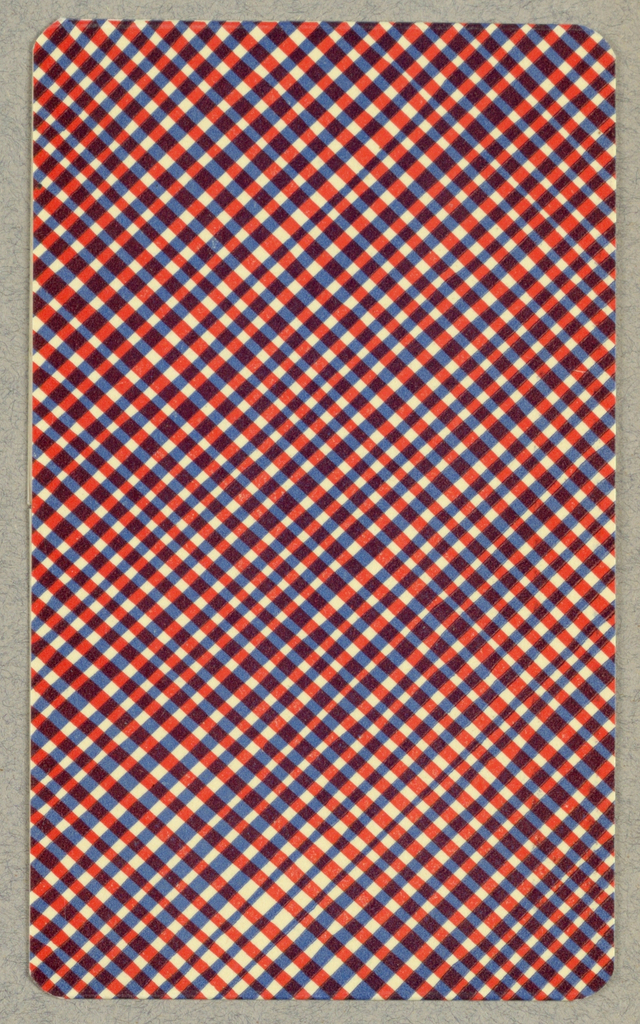 Verso: blue, red, white plaid pattern (arranged on the diagonal).