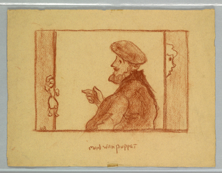 Sketch of a male figure with a puppet.