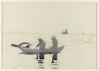 Horizontal view of a boy and girl in rowboat, at center, with a schooner on horizon, at right.