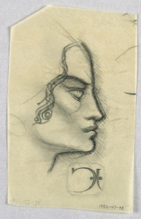 The present profile view of a female features a wide forehead, straight nose, full lips, and rounded chin. The thick eyebrow and lower eyelid slant upward. Waves frame the face on the right, ending below the invisible ear, where a rounded shape, possibly an earring, shows through. Dark outlines, shading on the right side of the face and below the chin line, and the downward curve of the mouth produce a menacing expression.  Within a framed outline, the initials JC, accompanied by two dots, appear below on the left. The ensemble perhaps simulates letters nailed into a plaque.