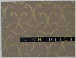 Intertwined pairs of the capital letter L, symmetrically arranged and imprinted in short strokes in gilt on brown coated paper, comprise the allover pattern. In the lower half of the front cover, a black band extends from midway in the left half to the right edge. Lightolier is imprinted on the band in serif style capitals in gilt.