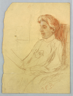 Three-quarter length portrait of a female figure seated. 