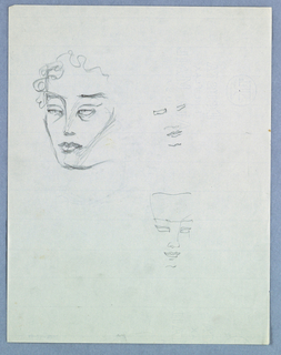 A female head is sketched on the upper left side of the page. Lightly drawn wavy hair frames the forehead and continues down the left side of the face, stopping at eye level. Light eyes under horizontal brows; straight nose; full, closed lips; and squared chin comprise the facial features.   Two additional incomplete faces are sketched on the right side of the page.