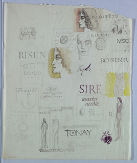 A full page of sketches in the present sheet includes two female heads in left profile and one frontal head, male or female; three full-length female figures; various objects (jewelry, foliate designs, etc.); and lettering (Risen, Sire, master needle, etc.) in assorted fonts (serif, sans-serif, italicized, etc.).