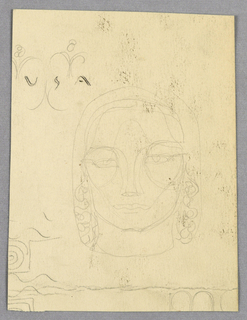 Recto: Within this square-jawed face, eyes look straight ahead under brows connected to the nose in unbroken lines on both sides. The hair, styled close to the head at the top and sides, forms ringlets at ear-level, ending at the shoulders. Foliate forms and U S A appear just above the top of the head on the left.  Verso: Bauer & Black, imprinted in capitals, abuts the top edge. Two variations of B & B (adosse) in the center and to the right, and two lines of [Ba]uer & Black, underneath, complete the page.