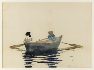 Two girls in a rowboat rest in the middle of a river, each caught up in her own thoughts, the oars limp and neglected.