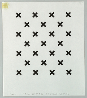 "A pattern of twenty five black ""X"" shapes arranged in alternating rows of three and four."
