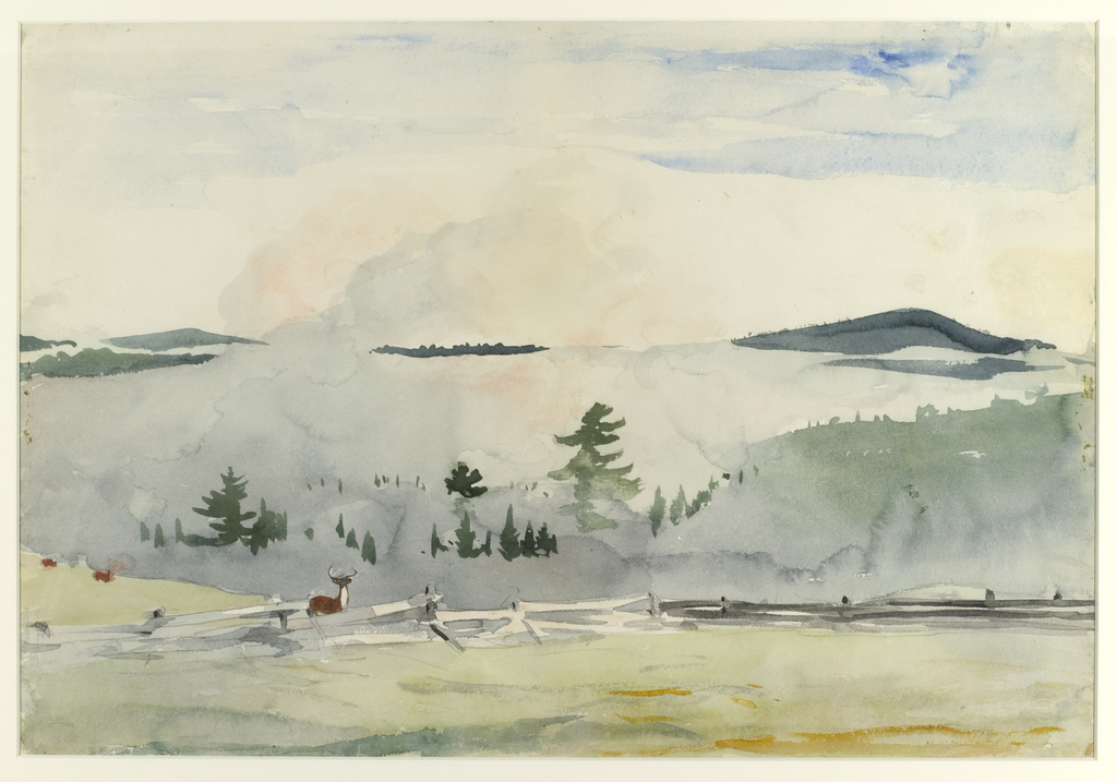 A hillside landscape with a fence and three deer in the foreground, tree tops and mist in the middleground, and mountains in background.