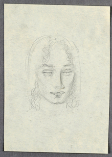 The present view shows a female with a square chin; almost-closed eyes under straight brows; straight nose, turned slightly upward at the tip; and full, closed lips. The center-parted hair cascades in ringlets on either side of the forehead and next to the face, stopping just below chin level. The configuration of the eyes and accompanying shading convey a sleepy expression.