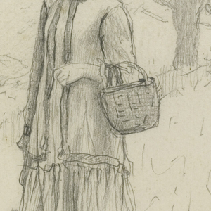 A young woman walks through a field carrying one basket in her right hand and another in her left. Trees fill the background.