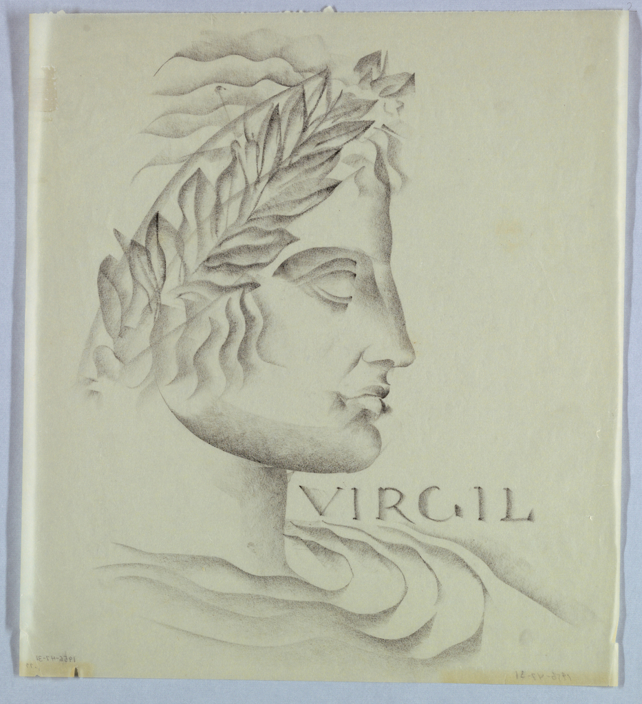 The present profile view, comprised of a man's head, neck and shoulders, occupies the full page from top to bottom edge and more than half the space from left to right. The massive appearance of the whole, including chiseled facial features; wavy lines of the hair; stylized curves depicting the garment; and detailed carving of the laurel wreath worn on the head, appear to originate in sculpture. Virgil, in antique Roman style capitals, appears on the right in the narrow space between the chin and shoulder.