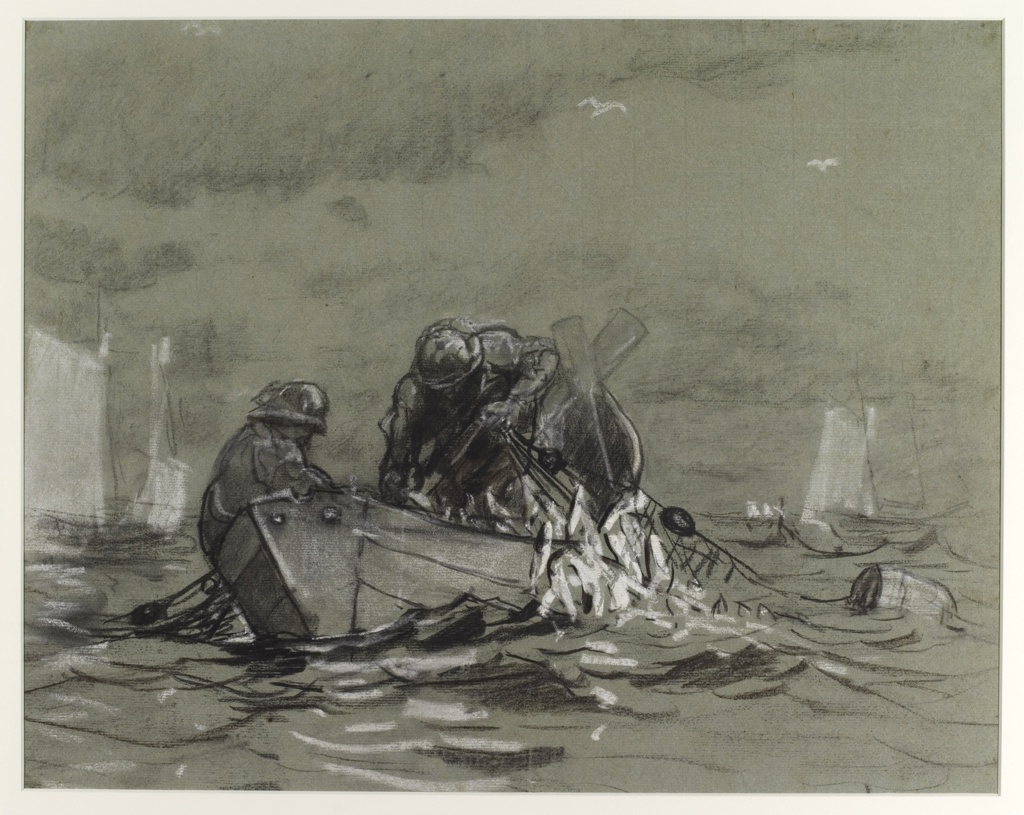 Horizontal view of two men in a dinghy, at center left, haul into the boat a net filled with herring; two sailboats visible at left and two more in right distance as two birds fly overhead.