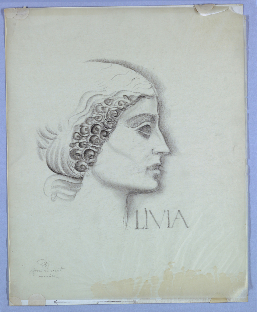 The design, alluding to ancient Greco-Roman marble statuary, is located on the page off-center to the left. The profile outline is shaded from the top of the head to the bottom of the neck. Additional shading extends the chin line leftward and demarcates the cheekbone, eye, eyelid, and brow. The hair is styled close to the head in ringlets and waves. Livia, in Roman-style capitals, is placed in the space under the chin. The designer's notation, from ancient marble, is written in script under his signature on the lower left of the page.
