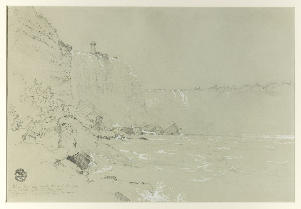 A view of the Canadian Falls is shown from the bottom of Goat Island, near the water line. Large rocks dominate the foreground and Terrapin Tower is visible at top left above the falls. On the verso of the sheet is a sketch of rainbows in the spray.