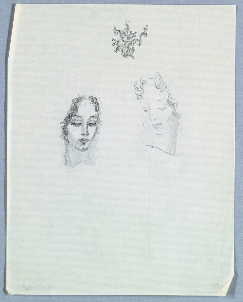 The head of a female in the upper half of the page, left, is framed by ringlets on the left down to chin level and to eye level on the right. The heavily fringed eyes are almost closed, as are the full lips. The eyelids; left side of the face; and neck are shaded.  Above and to the right, a second female head is tilted to the left and down. Wavy hair frames the face above the eyebrow on the left and to ear-level on the right. The almond-shaped eyes are open and look down. Shading is used in the left eye area and, more heavily, on the right, in the lower part of the face and on the neck.
