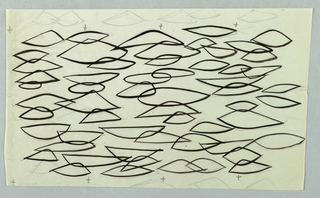 Linear pattern of overlapping thick abstract leaf forms with additional X and pencil shapes.