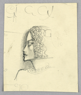 The angular profile of forehead, nose, closed mouth, and chin is depicted in dark outline backed by shading. A barely outlined headdress incorporates waves of chin-length hair framing the face. Lettering is inscribed across the top of the page and just below the outline of the headdress at the top.