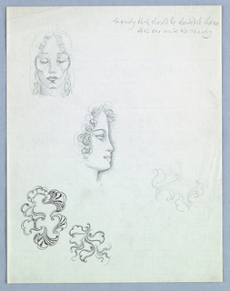 In the upper left-hand corner is a frontal view of the head of a female with downcast eyes; full, closed lips; and curly hair cascading from the top of the head, center, down the sides of the face to just below chin level. Shading appears around the eyes and in the lower face.   Below, to the right and just left of center is a female in right profile. Curly hair frames the face; an upturned nose, full mouth and rounded chin comprise the profile outline, which is heavily shaded on the outside.  Two ornaments occupy the lower part of the page on the left; an additional, incomplete one is on the right.   In the upper right hand corner, Jensen has written in script: the party that should be elected is the one/ that can unite the country.