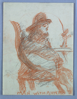 Sketch of a male figure seated with a puppet on the table next to him.