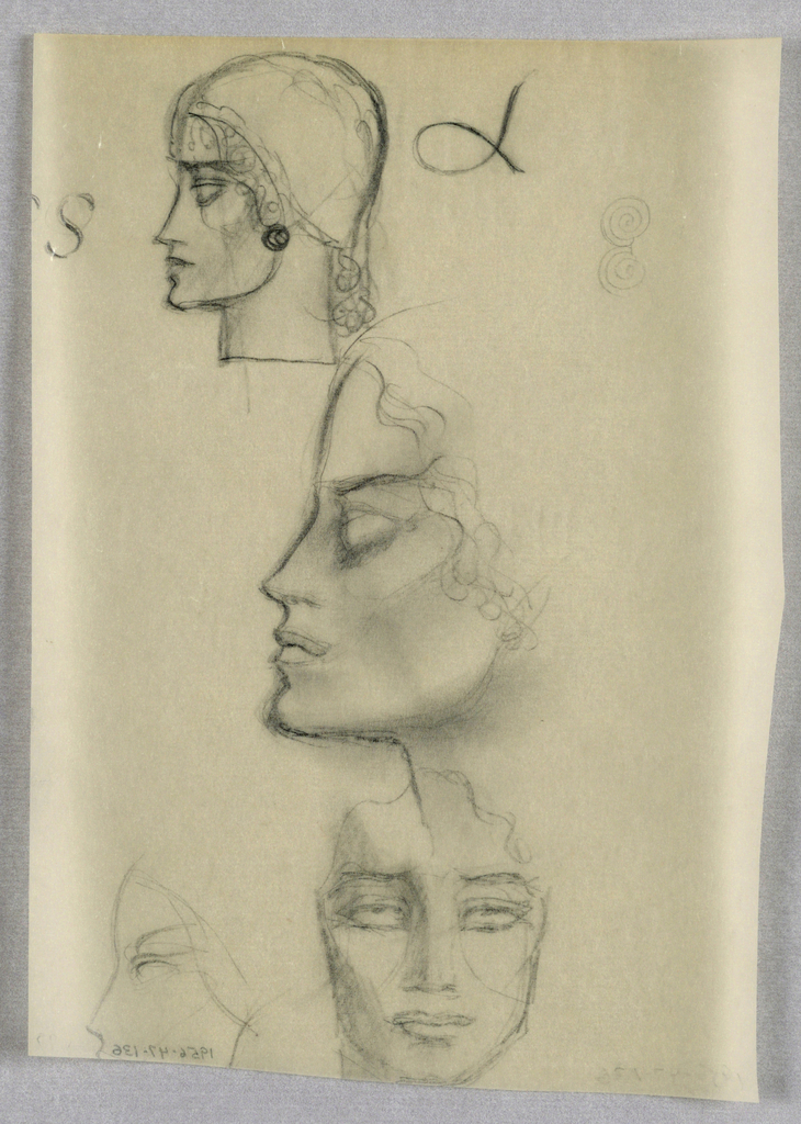 In the top left-hand corner, a female in left profile wears a close-fitting cap, from which curly hair escapes next to the face and down the back of the neck. A button earring appears where the ear would be. Shading is used under the eyebrow and in the cheekbone area. The rounded chin continues upward in a curve ending at the earring. Several letters are scattered on either side of the head.   A second head in left profile, tilted upward, occupies the center of the page. Under a curved brown slanting upward and intersecting the hairline, the empty, wide open eye socket is heavily shaded. Shading is also used in the cheekbone area and is heaviest under the line extending upward from the chin to the ear vicinity. Curly hair frames the face, stopping at ear level.  Directly below the second head, a frontal head, possibly male, abuts the bottom edge of the page. The eyes, wide open, glance upward under gently curved brows. Shading is heaviest on the left side. The lips are closed and full. A wavy line suggesting the hair is drawn at eye level from one side to the other across the top of the head.