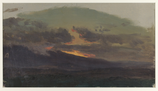 A view with bright sunset clouds glowing over low hills that rise to the left and are obliterated by a heavy gray cloudbank.