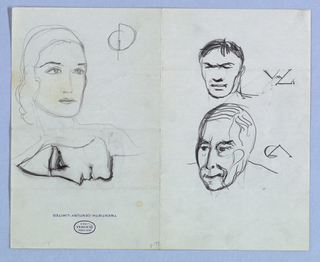 """Although the present sheet was originally folded writing paper, Jensen drew without regard to the fold. On the recto, the imprint of the logo, New York/ Central/ Lines, placed within an oval-shaped outline and followed underneath by Twentieth Century Limited; and on the verso, the designer's handwritten notes, suggest that Jensen sketched from life while traveling by train.   Recto: In the upper half on the left side of the page is a three-quarter view of a female, the head turning right; the emphatic curve of the left eyebrow extends into the hair, which is styled close to the top of the head and more loosely on the left side, ending in waves just above the shoulder. The eyes are wide open and the full lips are closed. With the page turned so that the left edge becomes the top, the view is of a female in left profile; the outline is dark, as are the lines depicting the eyebrow and eye. The lips are slightly parted in a tentative smile.  On the right side of the page, there is a frontal view of a male in the upper half. The curved eyebrows and the intersecting left-right curve depicting the eyes imply a squint or frown. Short strands of hair fall on the center right of the forehead. In the lower half, the head of a male in frontal view juts forward, turning to the left, over a hunched shoulder line, obscuring the neck. The facial contours, full in the midsection, narrow to a pointed chin. The dark eyes, upward-curving lips and thinning hair are accompanied by multiple fragmentary curved lines. Lettering in the Art Deco style appears to the right of each head.  Verso: Jensen's handwritten travel notes, covering the entire page, include design-related observations, such as """"Ford rotunda beautiful in conception, worthy of study...,"""" as well as personal minutia, such as """"Lost shirts in Ott [...], possibly left at hotel."""" His notation to """"get map of fairground for memorizing & study"""" may refer to his design commission for the Danish Pavilion at the 1939 New York World's """