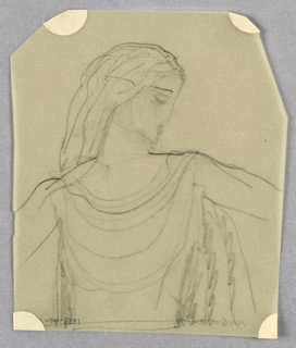 Lightly drawn, the head is in right profile and tilted downward. Either a full head of shoulder length hair, swept back off the face, or a perhaps a headdress in an antique style, falls behind the left shoulder. A series of curved lines below the neck and ending at the waist, delineates the sleeveless garment, perhaps also in an antique style. The arms, abbreviated above the elbows, extend out to the sides.