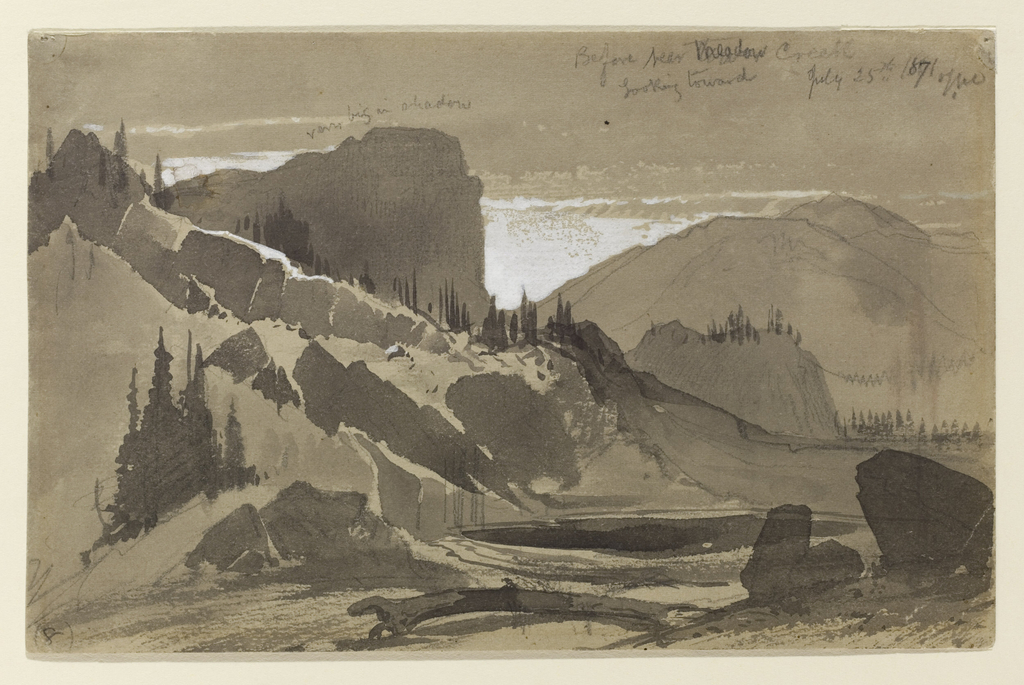 Recto: Horizontal view of the valley floor with Meadow Creek, rushing through in cnetral foreground surrounded by hills and mountains in middle ground and distance. Verso, in opposite direction: View of a mountain.
