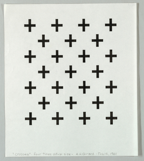 Pattern of twenty-five black crosses arranged in alternating rows of four and five.