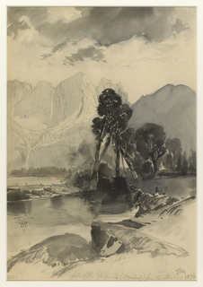 Recto: Vertical view with a mountain river winding from the foreground to a rugged range of mountains in the distance.