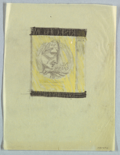 The present sketch for a book jacket design features top and bottom black bands stretched across the front cover and spine. On the front, in yellow capitals, Rise of Rome is inscribed on the top band and By Gordon King on the bottom. Within a circle on the front cover, right, a man in left profile, tilted downward, wears a laurel wreath. Jul[ius]/ Caesar is imprinted in antique Roman style capitals in the space to the left of the nose and chin.