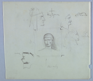 In the center of the page, the image of a man's head (tilted left); neck; and shoulders shows a full head of hair styled close-to-the-head. There is shading on the right cheek, as well as behind the head on the right. This only in script appears below next to an arrow pointing upward toward the sketch.  Above the central image on the left is the head of a man in right profile. He wears a headdress comprised of a cap and an attached shoulder-length piece. A star-shaped ornament embellishes the cap. King Tigranes, in script on the right, identifies the drawing.  To the right of King Tigranes is a male head in right profile. Hairline, forehead, eyebrow, eye, fleshy nose, and mouth are depicted in a series of curves. Antonius is written in script on the right.  Just below the head of Antonius is a female head in right profile; the curly hair and profile outline are lightly sketched. Livia, in script on the right, identifies the drawing.  With the sheet turned top-to-bottom, a male head in right profile appears on the top right. The features, especially the eyebrow and line under the chin, are sketched in a series of dark lines.