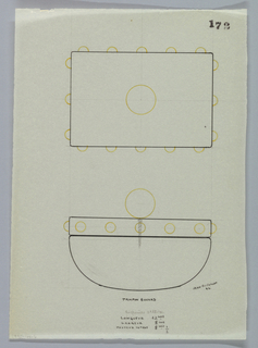Blotter drawn in plan and elevation.  The curved blotter surmounted by a rectangular top, with sphere-shaped finial, decorated on 4 sides with 4 studs indicated in yellow color pencil to be executed in vermeil.  The screw connecting finial to the top of blotter indicated in graphite.  Underdrawing in graphite of blotter in golden section.