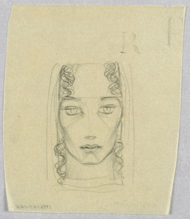 The facial outline emphasizes the cheekbones, depicted in curves from eye-level downward at the outer edges. The outline is unfinished at the top. On either side of the face, underneath a headdress suggested by a few vertical lines, curly hair appears at the top of the forehead, disappears at eyebrow-level, and reappears just above chin level, where it cascades downward, ending below the neck. The subject looks straight ahead from wide-open, pale eyes under straight brows. The nose is depicted in a barely visible vertical line and darker nostrils. A dark line separates top from bottom in the depiction of the closed lips.