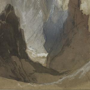 Under a heavy grey sky, a deep chasm opens to a jagged cliff amid dark outcroppings, while touches of white punctuate a distant mountain.