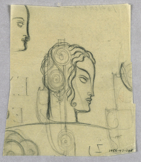 The profile outline depicts a high forehead, straight nose, curved lips and rounded chin, ending abruptly in a vertical straight line for the neck. The hair is composed of wavy lines on the top of the head and framing the face. Two coils, one atop the other, are superimposed on the hair toward the back of the head. The curved line of the eyebrow continues downward in an unbroken line, ending at the nostril. Although not identified, the subject appears to be Zita Johann; on the bottom left are the initials Z J .  In the upper right hand corner is a sketch of a female in left profile; underneath, are several capital letters and swirls.